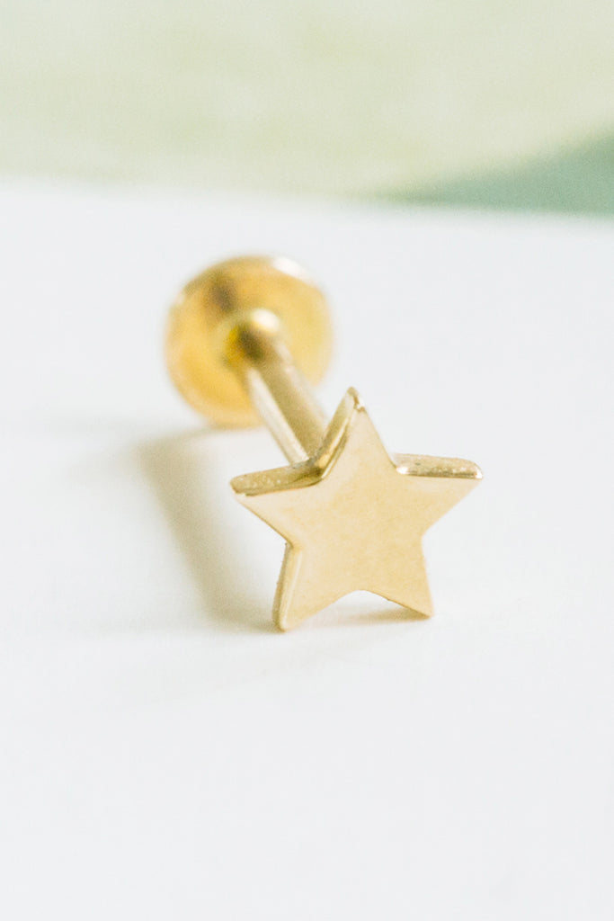 14k Gold Cartilage Star Pendant Internally Internal Threaded Labret