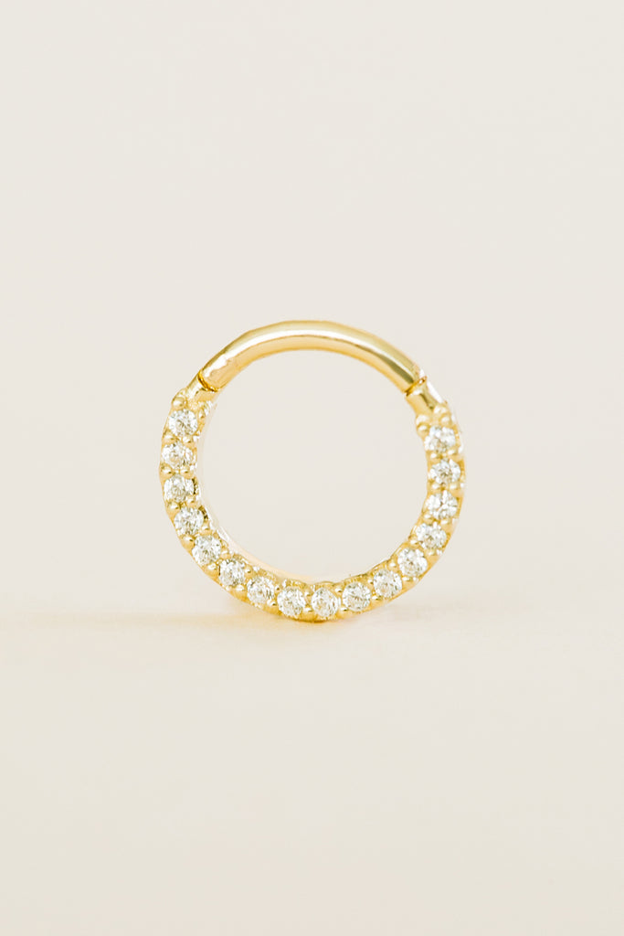 Real Solid Gold Jewelry Cz Daith Nose Septum Piercing Earring Hoop Ring