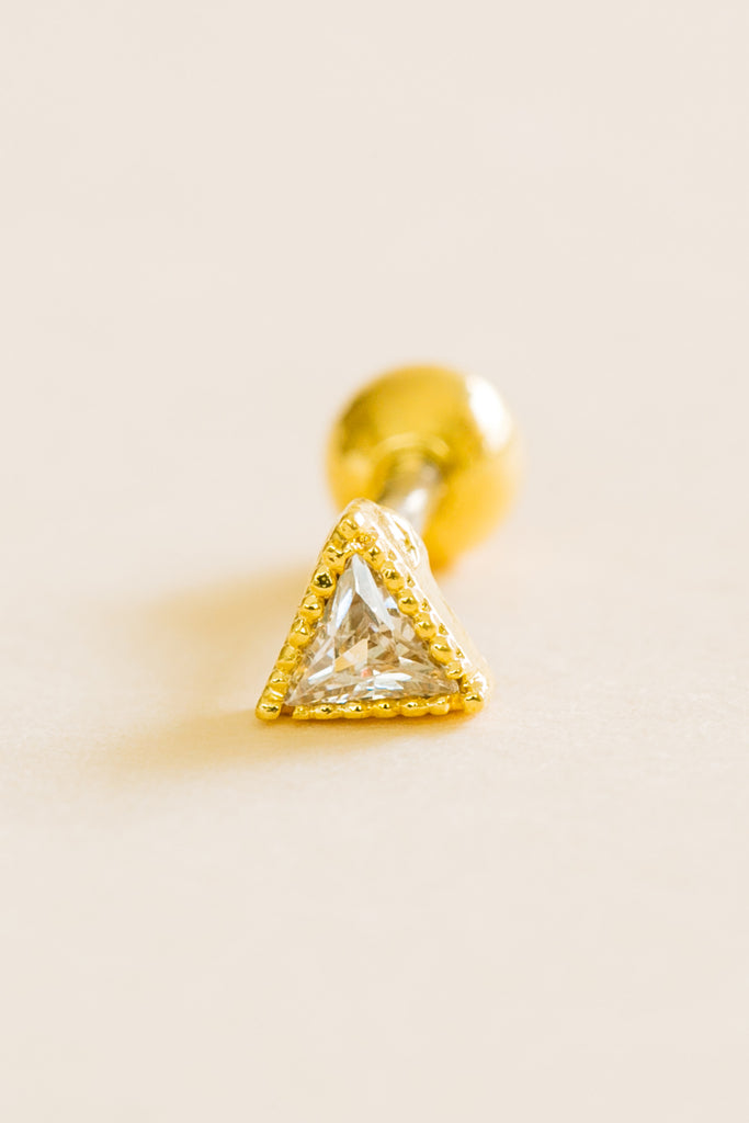 14k Gold Plated Simulated Solid Diamond Cubic Triangle Ear Barbell Ball Stud Earring Piercing