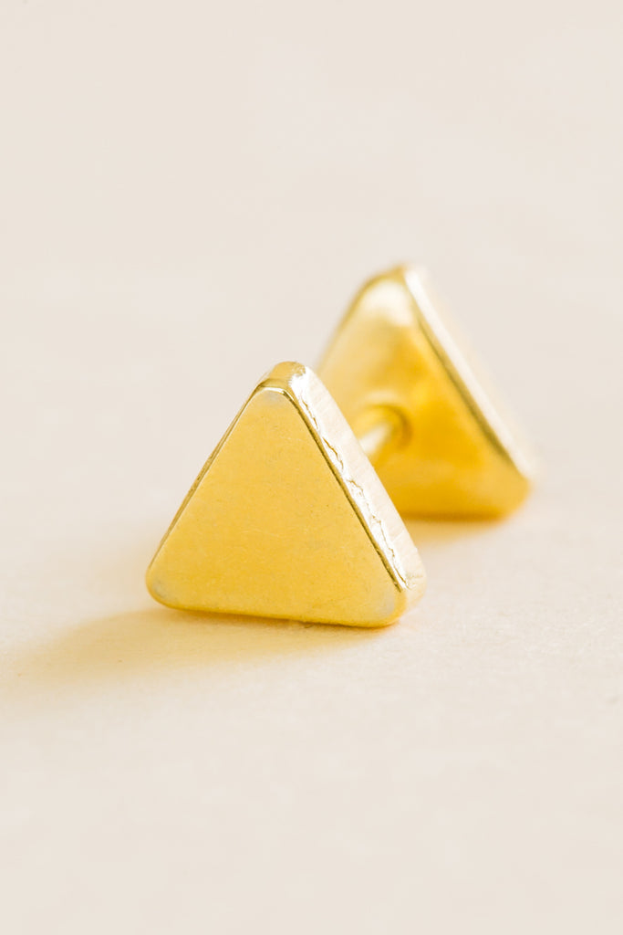 14k Gold Plated Simulated Solid Both Side 3D Triangle Ear Barbell Triangle Stud Earring Piercing