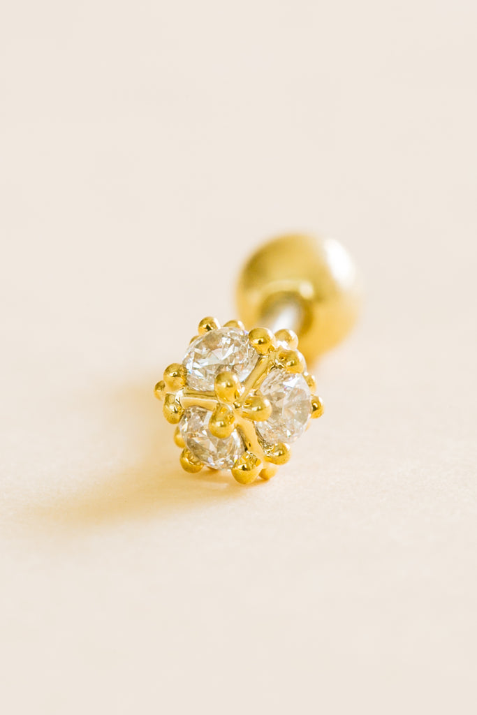 14K Gold Plated Stimulated Diamond Cubic Square Ear Barbell Ball Stud Earring Piercing Stainless Steel