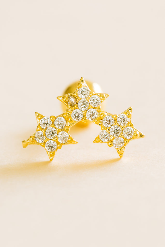 14k Gold Plated Simulated Diamond Cubic Three Stars Ear Barbell Ball Stud Earring Piercing