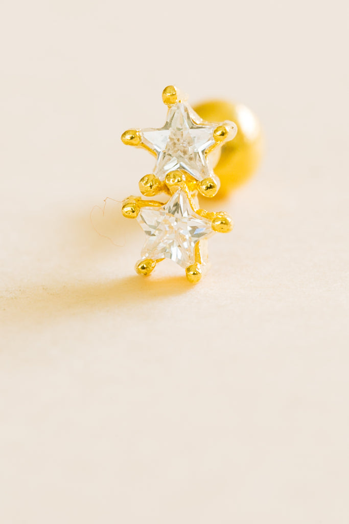 14k Gold Plated Simulated Two  Diamond Cubic Stars Ear Barbell Ball Stud Earring Piercing