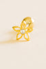 14k Gold Plated Simulated Diamond Cubic Flower Ear Barbell Ball Stud Earring Piercing Stainless Steel