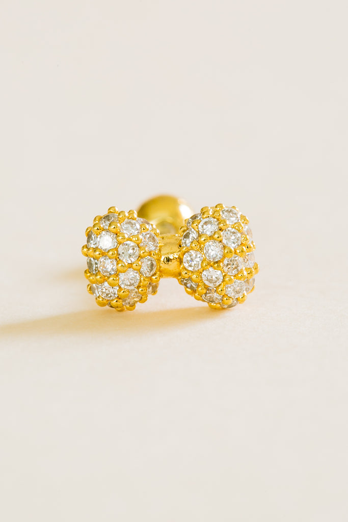 14K Gold Plated Stimulated Diamond Cz Cat Bow Tie Knot Love Ribbon  Ear Barbell Ball Stud Earring Piercing Stainless Steel