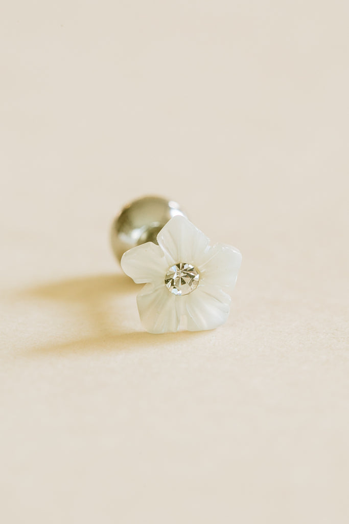 14k Gold Plated Simulated Cubic White Curved Sharp Flower Barbell Ball Stud Earring Piercing Stainless Steel