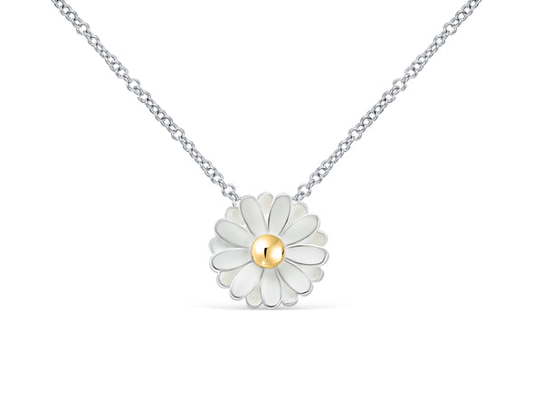 Bling Spring White Daisy Flower Jewelry Pendant Charm Chain Necklace