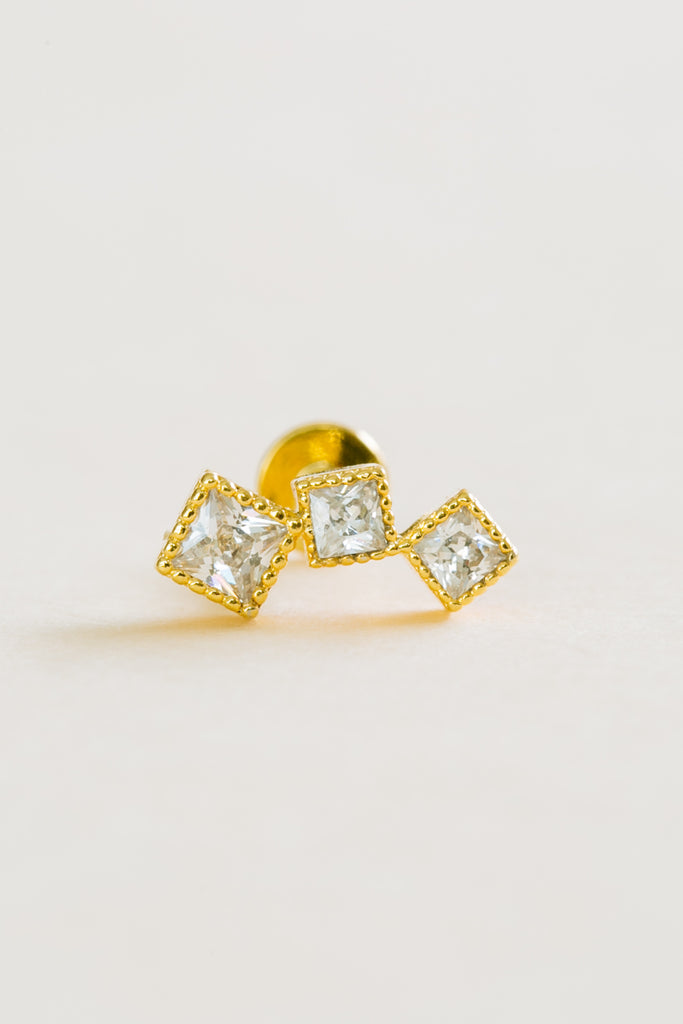 14k gold plated simulated three square line white cz external labret