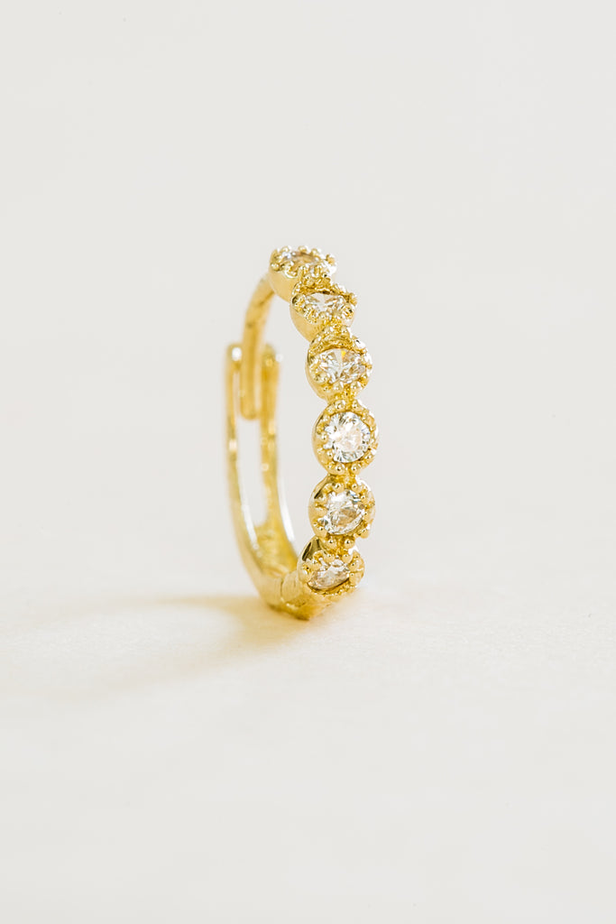 Round Cz Tragus Cartilage Helix Hoop Ring Piercing Earring 14K Solid Gold