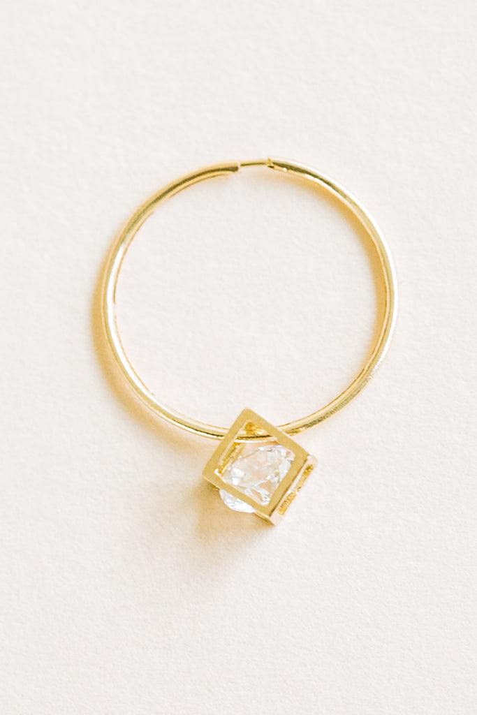 Square Cubic Pendant Tragus Cartilage Helix Pipe Hoop Ring Piercing Earring 14K Solid Gold
