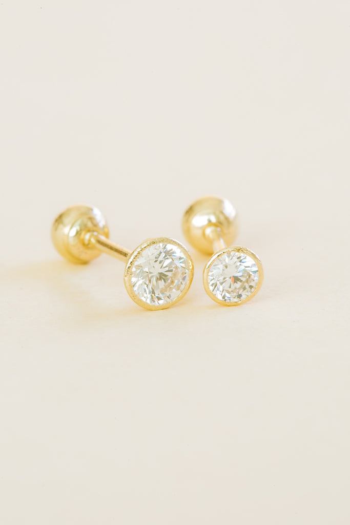 14k Solid Gold Wrap Round Cz Barbell Ball Ear Post Stud Earring Piercing