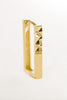 14K Solid Gold Square Diamond Cutting Earring Hoop Ring
