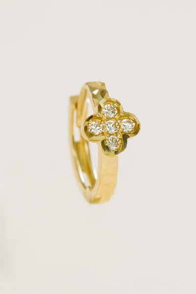 14K Solid Gold Cz Lucky Clover Earring Hoop Ring
