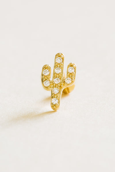 14k Gold Jewelry Cz Cute Cactus Barbell Ear Stud Piercing