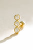 14k Gold Jewelry Triple Round Cz Barbell Ear Stud Piercing