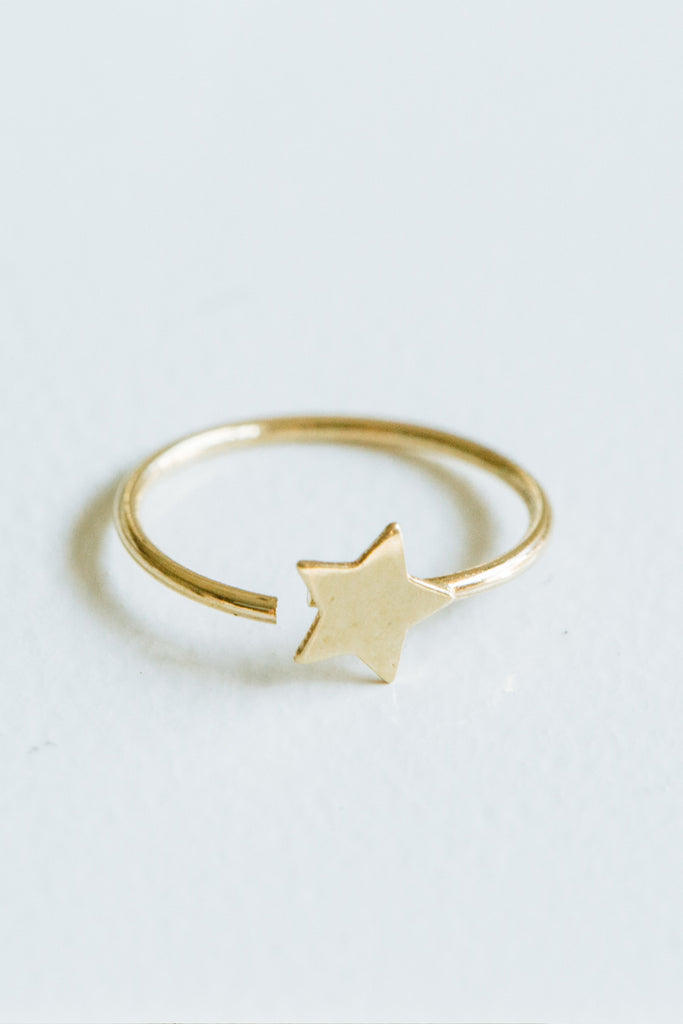 Star Cartilage Helix Hoop Ring Piercing Earring-14K Solid Gold Jewelry