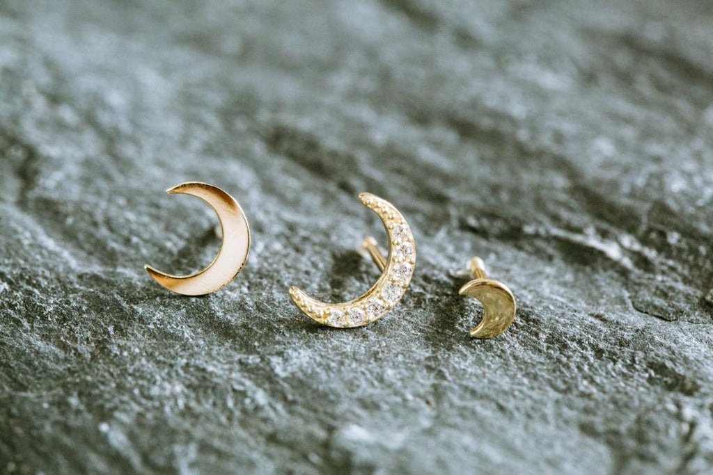 14k Gold Small Cubic Moon Barbell Ear Stud Piercing