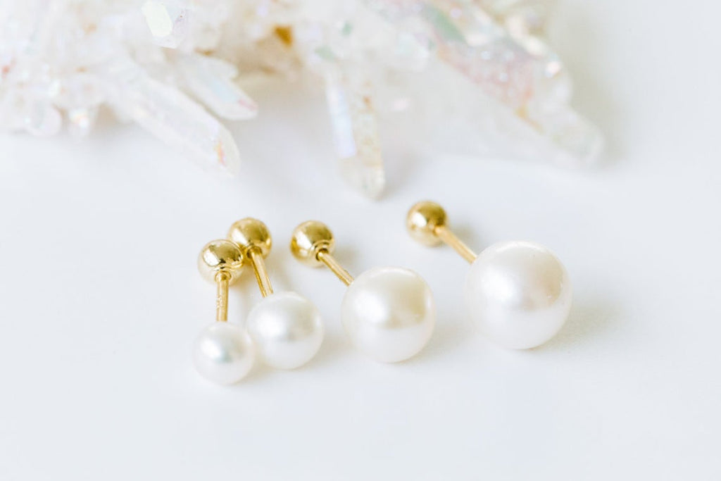 14k Gold Pearl Ball Barbell Ear Stud Piercing