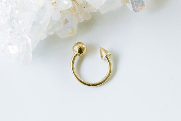 14k Yellow Gold Round Spike Circular Ear Earring Piercing
