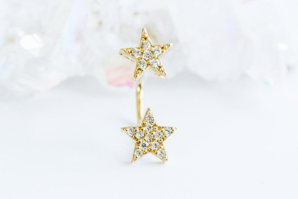 14k Gold Curved Barbell Banana Cz Star Earring Piercing