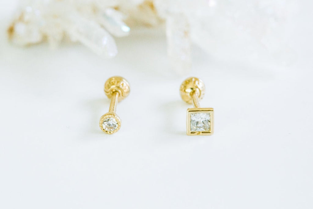 14k Gold Cubic Round Square Barbell Ear Stud Piercing