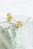 14k Gold Cubic Circle Round Pendant Barbell Ear Stud Piercing