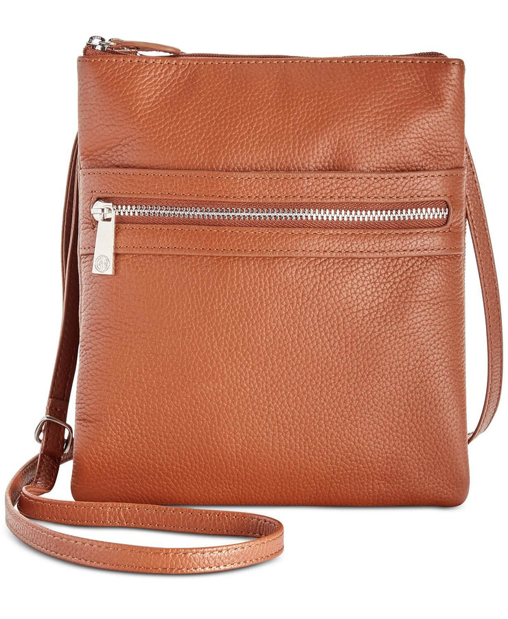 Giani Bernini Triple-Zip Pebble Leather Dasher Crossbody