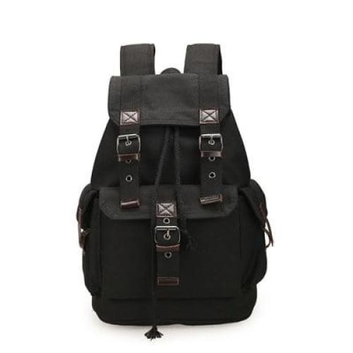 Backpack canvas rucksack drawstring - Black - Backpacp_Oct