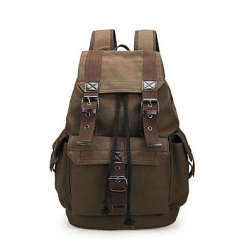 Backpack canvas rucksack drawstring - Brown - Backpacp_Oct