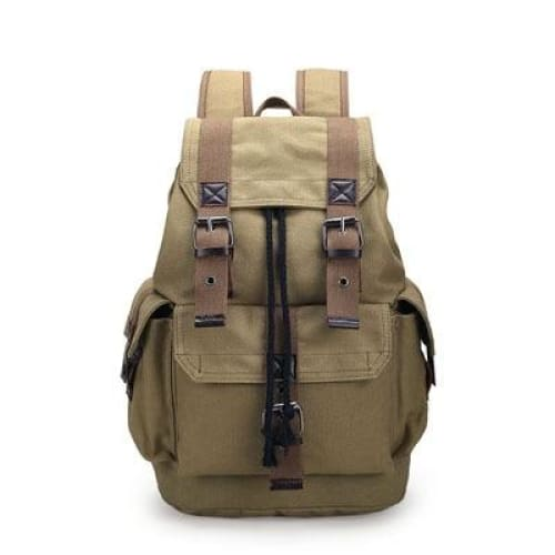Backpack canvas rucksack drawstring - Khaki - Backpacp_Oct