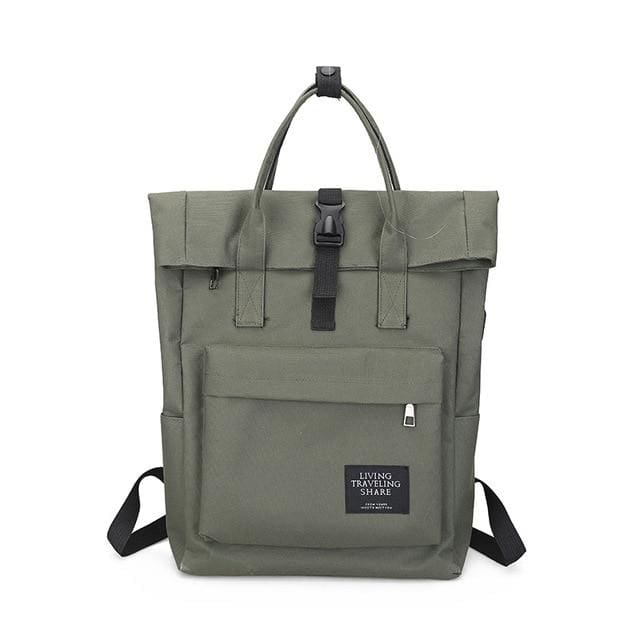 Backpack canvas rucksack women external USB charge - Army Green - backpack