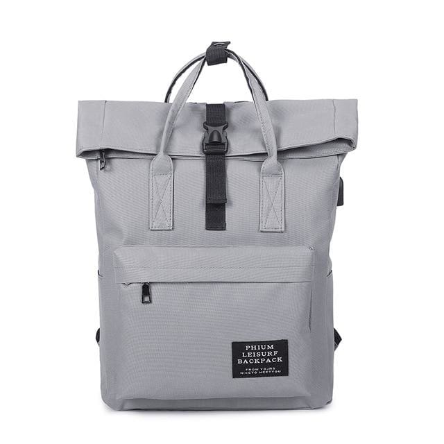Backpack canvas rucksack women external USB charge - Gray - backpack