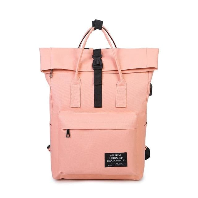 Backpack canvas rucksack women external USB charge - Pink - backpack