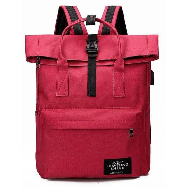 Backpack canvas rucksack women external USB charge - Red - backpack