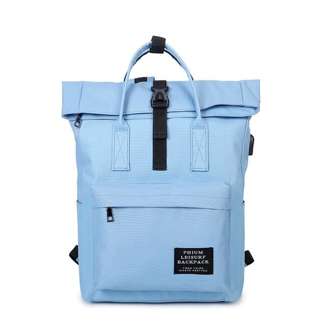 Backpack canvas rucksack women external USB charge - Sky Blue - backpack