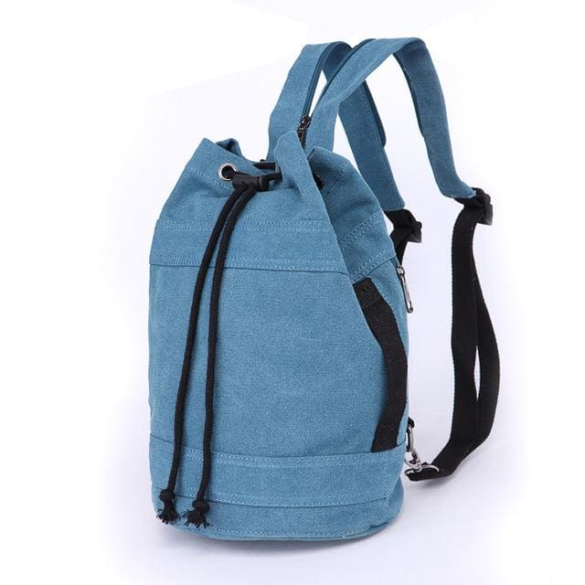 Backpack Drawstring Travel Luggage Bag - Blue middle - Backpacp_Oct