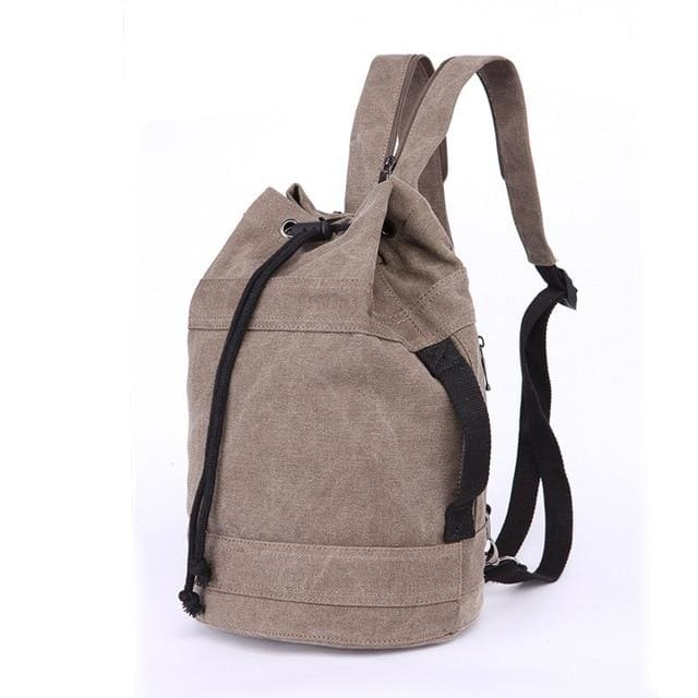 Backpack Drawstring Travel Luggage Bag - Brown middle - Backpacp_Oct