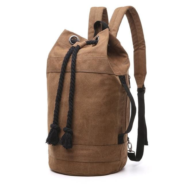 Backpack Drawstring Travel Luggage Bag - Coffee Big - Backpacp_Oct