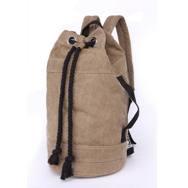 Backpack Drawstring Travel Luggage Bag - Khaki Big - Backpacp_Oct