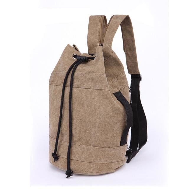 Backpack Drawstring Travel Luggage Bag - Khaki middle - Backpacp_Oct
