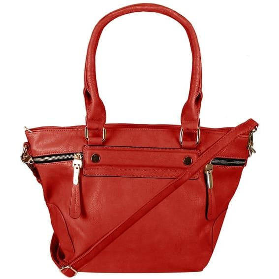 Boutique PU Leather Womens Shoulder Bag Top-Handle Handbag Purse - Red - Canvas_Tote_2020