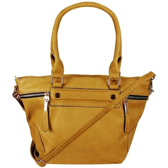 Boutique PU Leather Womens Shoulder Bag Top-Handle Handbag Purse - Yellow - Canvas_Tote_2020