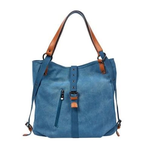 Canvas tote bag large capacity - Blue / 30x35x11cm - Canvas_Tote_2020