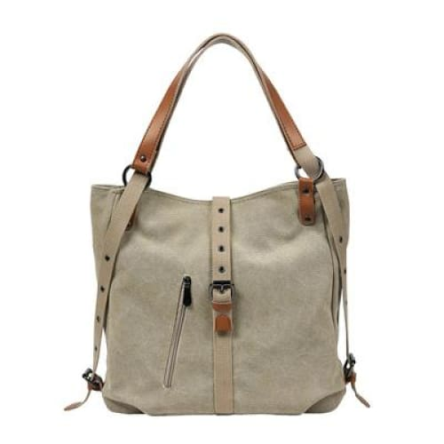 Canvas tote bag large capacity - Khaki / 30x35x11cm - Canvas_Tote_2020