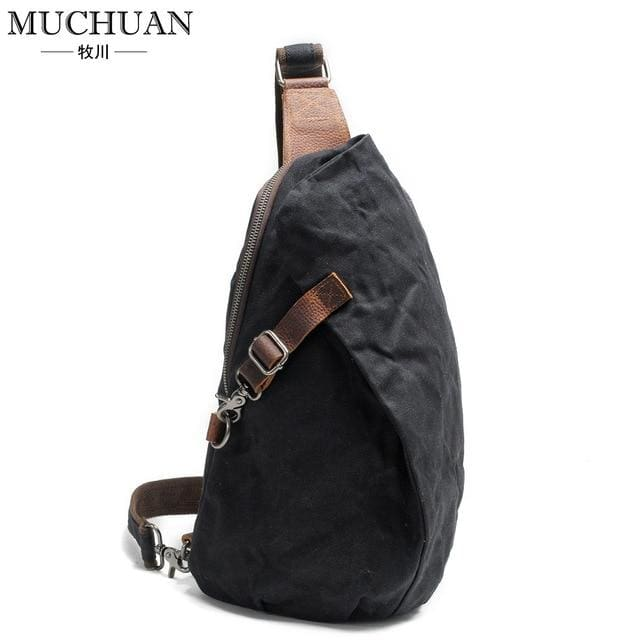 Chest pack retro pants canvas shoulder bag - Black - Backpacp_Oct