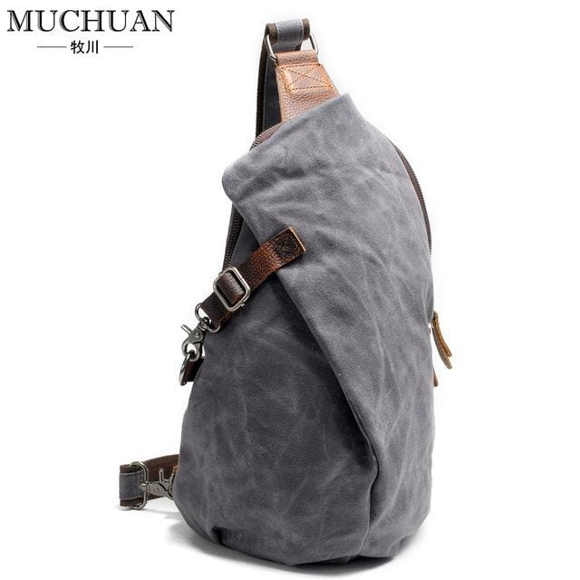 Chest pack retro pants canvas shoulder bag - Dark grey - Backpacp_Oct
