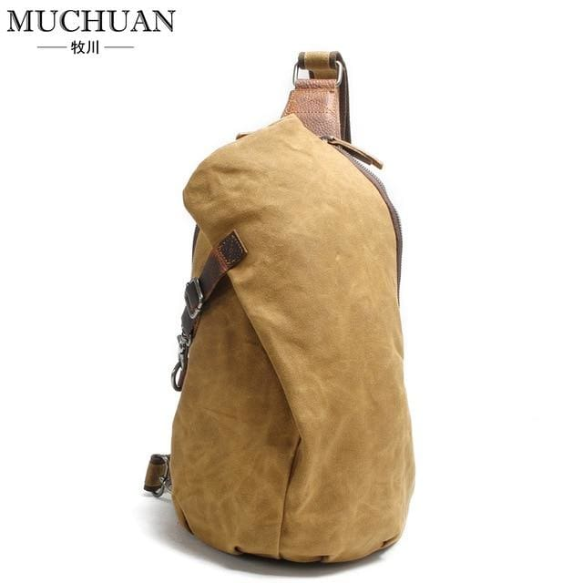 Chest pack retro pants canvas shoulder bag - Khaki - Backpacp_Oct