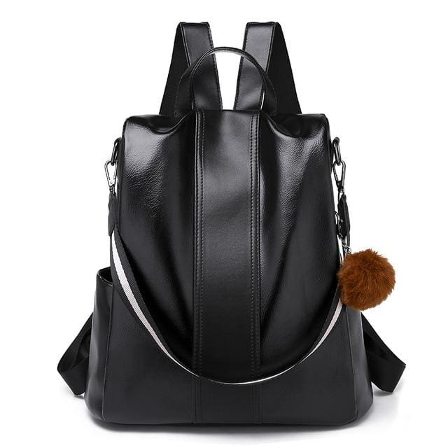 Classic backpack PU leather - black - Women_Bags