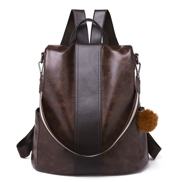 Classic backpack PU leather - brown - Women_Bags