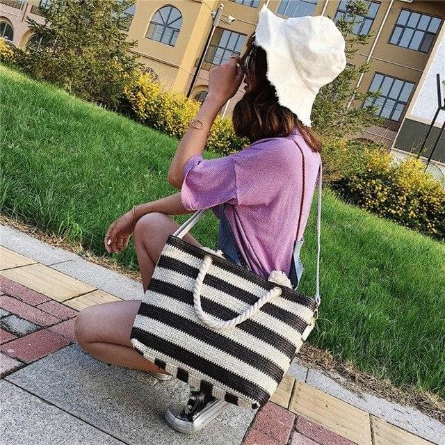 Fashion Women handbag Stripe Crossbody Bags Simple - Canvas_Tote_2020